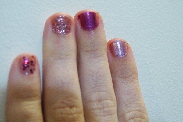 Jordana - Confetti | China Glaze - Material Girl | China Glaze - Infra-Red | China Glaze - Get Outta My Space | ALL ONE COAT