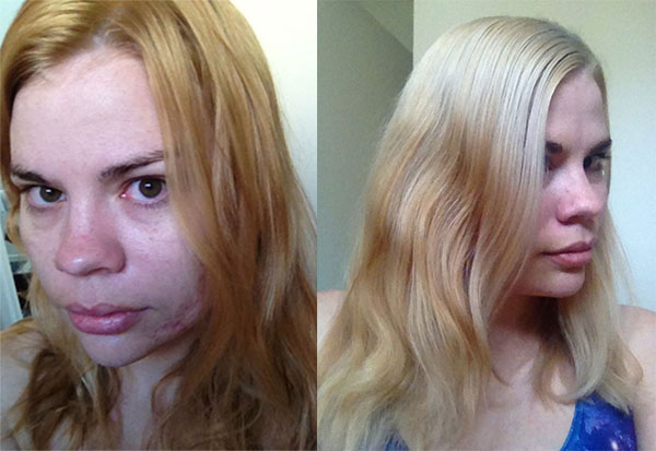 L -> R After first bleach, and after second bleach and toning